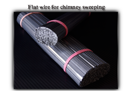 Flat wire for chimney sweeping