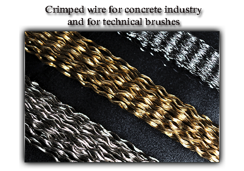 Crimped wire for concrete industry and for technical brushes